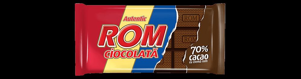 Autentic Rom ciocolata amaruie cu 70% cacao si crema rom, 88g